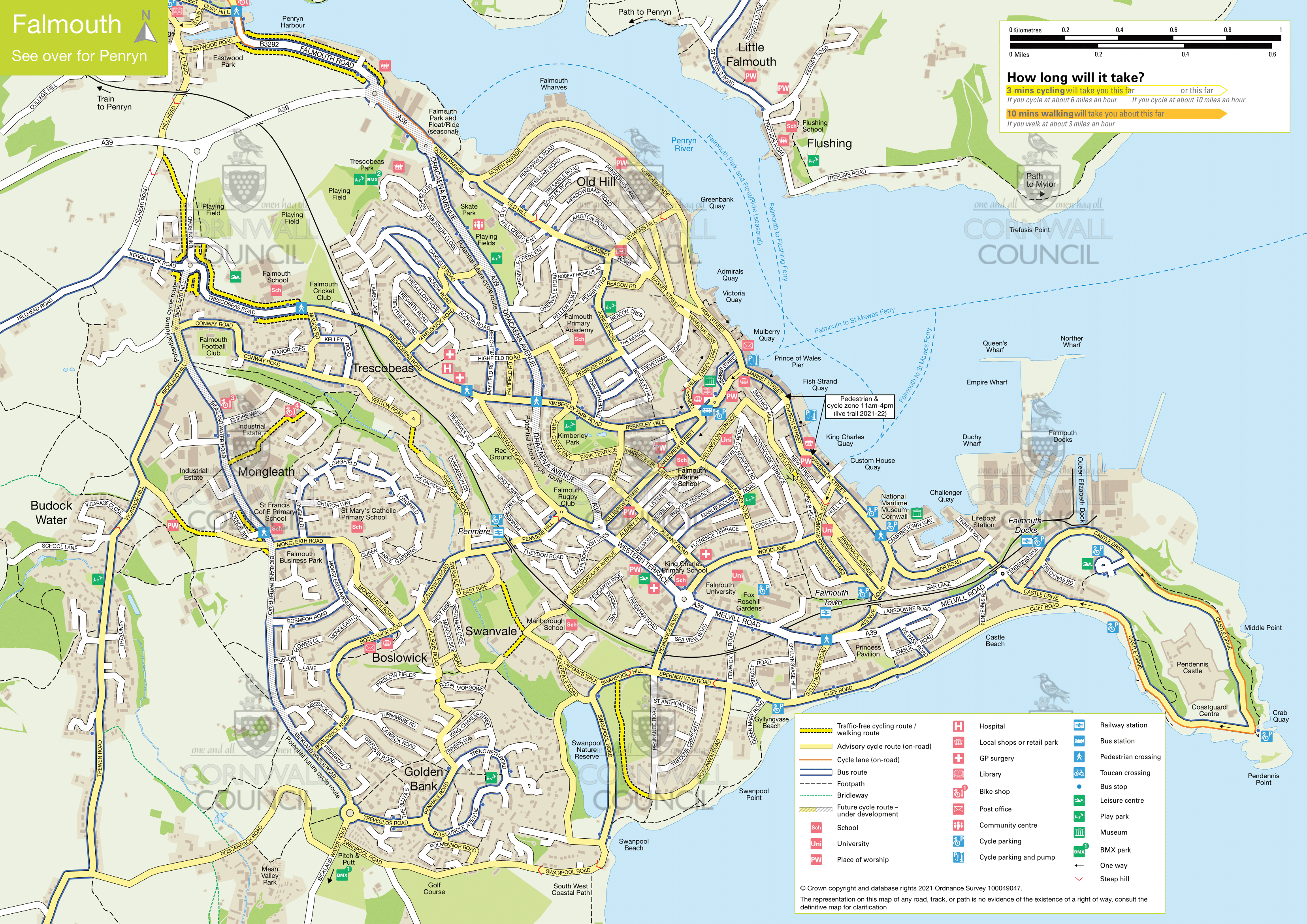 Map showing active travel route around Penryn