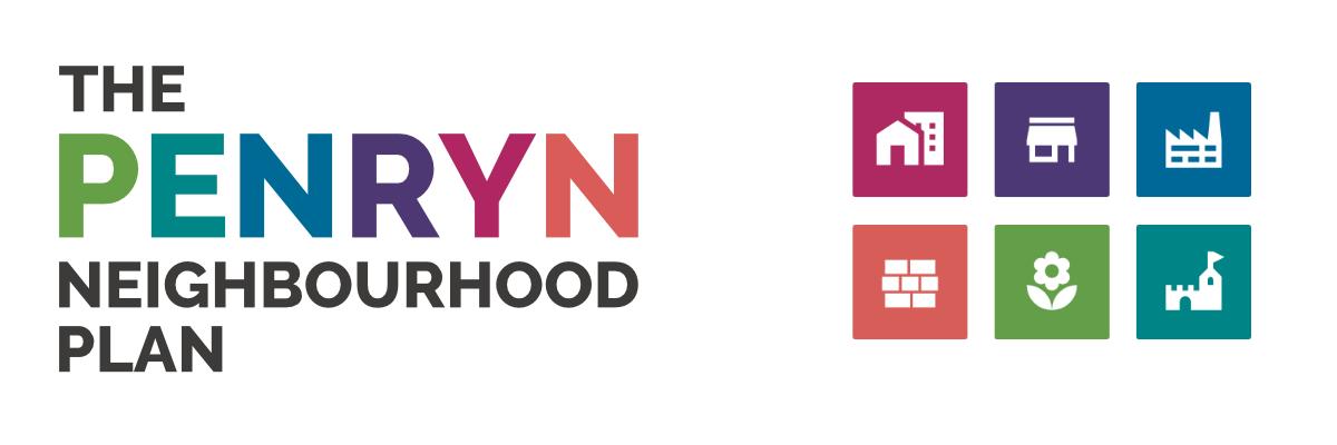 The Penryn Neighbourhood Plan Logo - a simple text arrangement with different colours